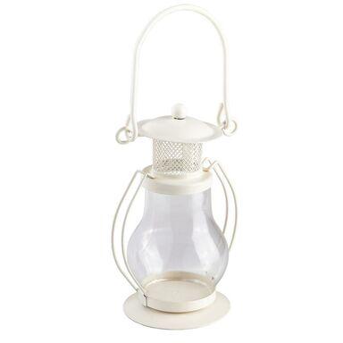 Lampion metalowo-szklany na świeczkę 12 x 6 cm biały