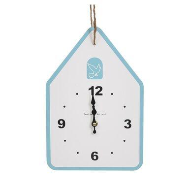 Zegar ścienny Domek 31 x 21 cm biało-niebieski