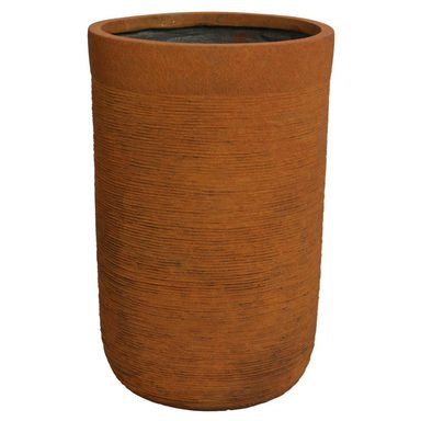 Donica okrągła 30 cm rdzawa z włókna szkalnego