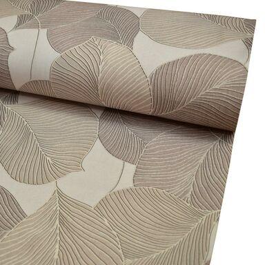 Tkanina na mb OXFORD beżowa w liście szer. 150 cm