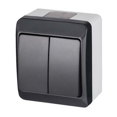 Włącznik podwójny IP44  Szary/antracytowy  ELEKTRO-PLAST