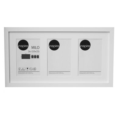 Multiramka Milo na 3 zdjęcia 40.5 x 24 cm biała MDF Inspire