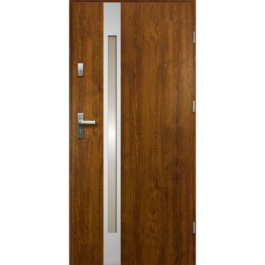 Drzwi zewnętrzne stalowe TEMIDAS Złoty dąb 90 Prawe