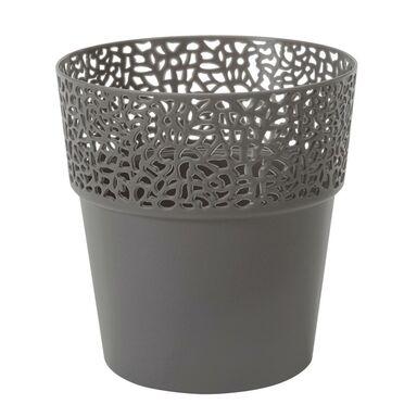 Osłonka na doniczkę 13 cm plastikowa antracytowa ROSA LAMELA