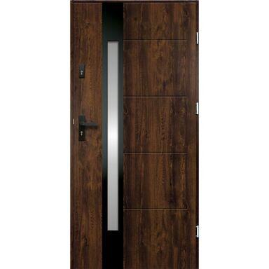 Drzwi zewnętrzne stalowe ARIADNA Orzech 90 Prawe