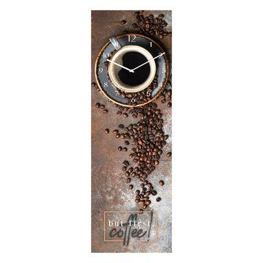Zegar ścienny FIRST COFFEE 20 x 60 cm szklany do kuchni