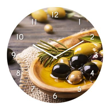 Zegar ścienny GOLD OLIVES śr. 30 cm szklany