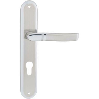Klamka drzwiowa z długim szyldem do wkładki PLEJADA 72 Chrom satyna
