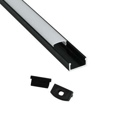 Profil do taśmy LED natynkowy 1 m czarny + zaślepki POLUX