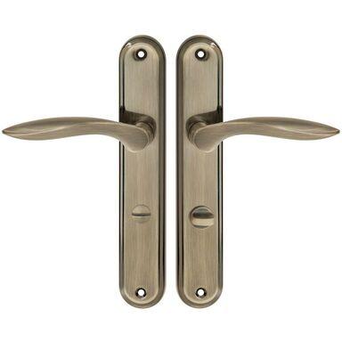 Klamka drzwiowa z długim szyldem do WC BLANKA 72 Patyna