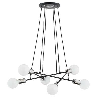 Lampa wisząca Vivia czarno-srebrna 6 x E27 Alfa