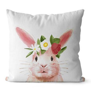 Poduszka Cleo biało-różowa 43 x 43 cm