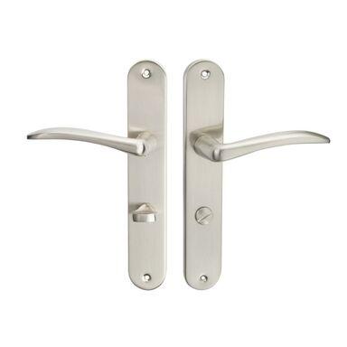 Klamka drzwiowa z długim szyldem do WC MILA 72 Nikiel satyna