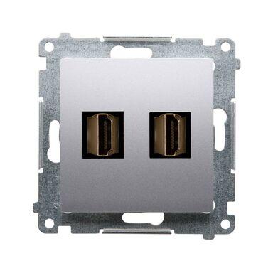 Gniazdo podwójne HDMI SIMON 54 PREMIUM  srebrny mat  KONTAKT SIMON