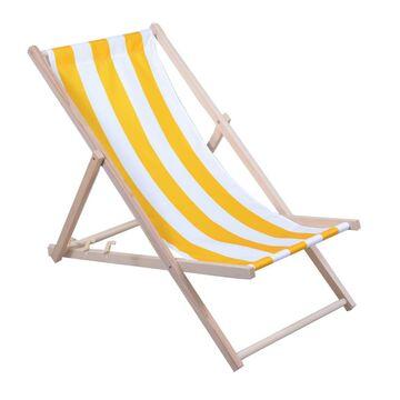 Leżak plażowy drewniany biało-żółty