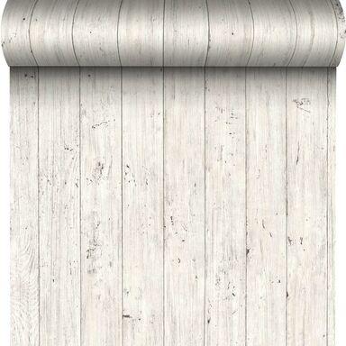 Tapeta Wood Wall Plane biała imitacja deski winylowa na flizelinie