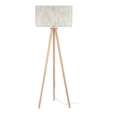 Lampa podłogowa Malo beżowa z drewnem E27 Spot-Light