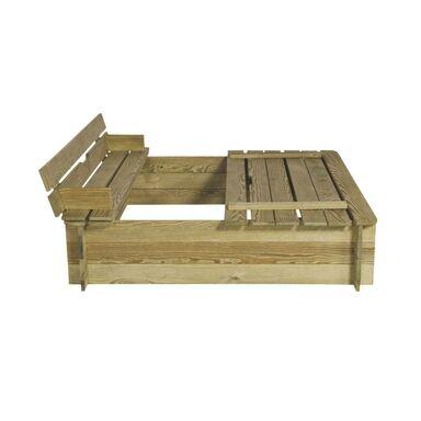 Piaskownica drewniana 120 x 120 x 29 cm z pokrywa i ławeczkami STELMET