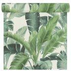 Tapeta w liście Tropics zielona winylowa na flizelinie