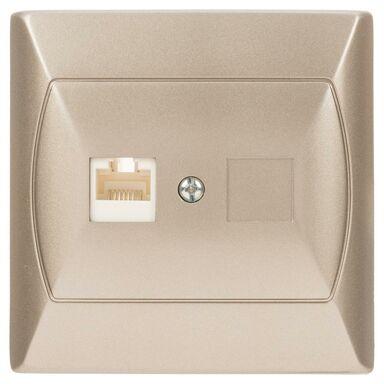 Gniazdo komputerowe POJEDYNCZE AKCENT  Srebrny  OSPEL