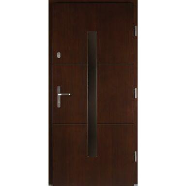 Drzwi zewnętrzne drewniane Proxima orzech 90 prawe Lupol