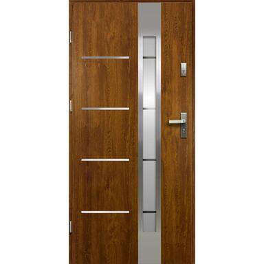 Drzwi zewnętrzne stalowe ADRIANA Złoty dąb 90 Lewe OK DOORS TRENDLINE