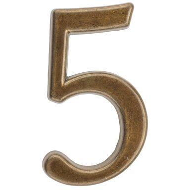 Cyfra 5 wys. 5 cm metalowa brązowa