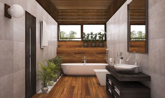 Łazienka w stylu SPA i wanną