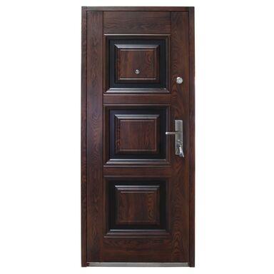 Drzwi zewnętrzne stalowe QUADRAT Mahoń 90 Lewe