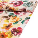 Tkanina bawełniana na mb ROSEC pomarańczowa w kwiaty szer. 140 cm