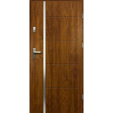 Drzwi zewnętrzne stalowe antywłamaniowe RC2 Iris złoty dąb 90 prawe Loxa