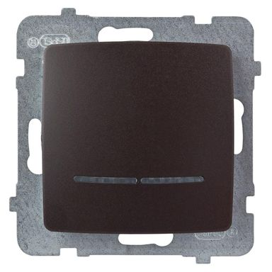 Włącznik pojedynczy z podświetleniem KARO  czekoladowy  OSPEL
