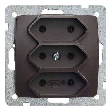 Gniazdo potrójne KARO  czekoladowy  OSPEL