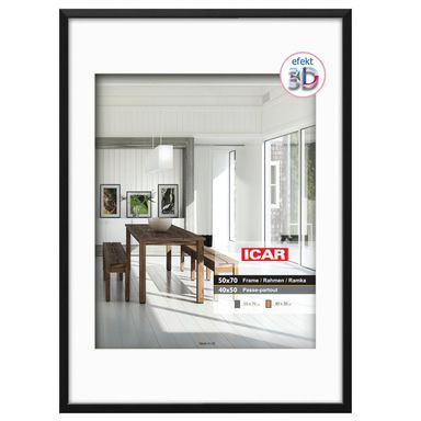 Ramka EFEKT 3D 50 x 70 cm czarna drewniana