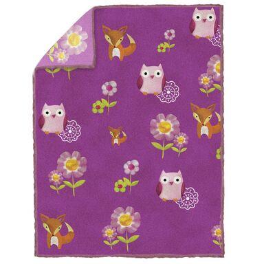 Koc dla dzieci Les Amis Little Owls fioletowy 150 x 200 cm