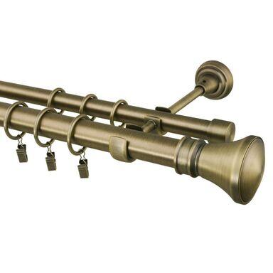 Karnisz COLOSSEO 200 cm podwójny mosiądz 25/19 mm metalowy