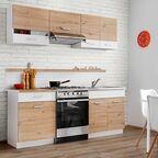 Zestaw mebli kuchennych Mila 5 el. 200 cm kolor biały/dąb artisan