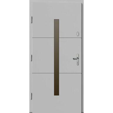 Drzwi zewnętrzne drewniane Proxima białe 90 lewe Lupol