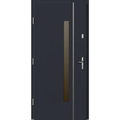 Drzwi zewnętrzne drewniane Kalipso antracyt 90 lewe Lupol