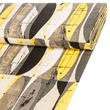 Tkanina na mb GEOMETRICO szaro-żółta szer. 140 cm