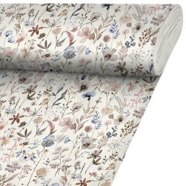 Tkanina bawełniana na mb Afelini beżowa w kwiaty szer. 140 cm Inspire