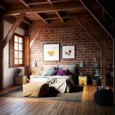 Salon z akcentem drewna i cegieł