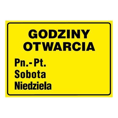Znak informacyjny GODZINY OTWARCIA 21 x 29,7 cm