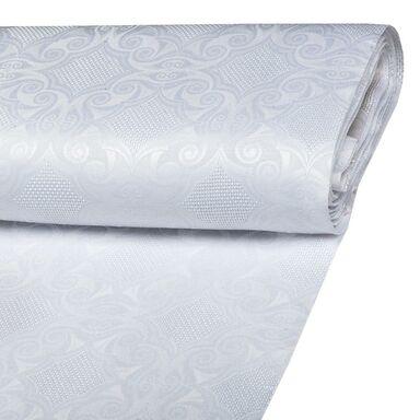 Tkanina obrusowa na mb BLOMST biała szer. 165 cm