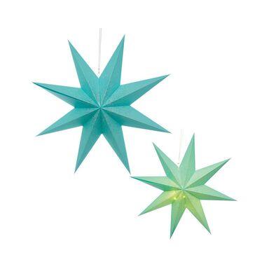 Gwiazda podświetlana 75 cm niebieska papierowa