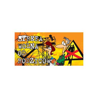 Zawieszka na klamkę STREFA WOLNA OD RODZICÓW 9 x 20 cm