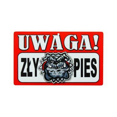 Znak informacyjny UWAGA! ZŁY PIES 12 x 20 cm