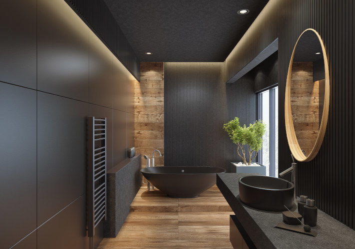 Nowoczesna łazienka urządzona w czarnym kolorze