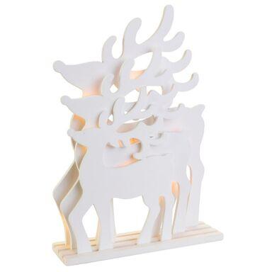 Świecąca figurka LED białe renifery 30.5 cm