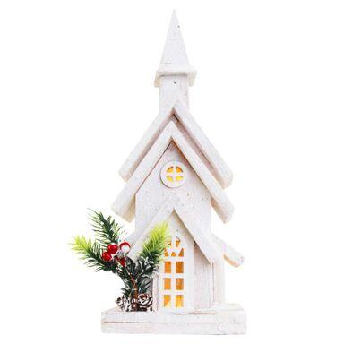 Drewniany domek / kościół 38 x 14 x 9 cm biały 10 LED